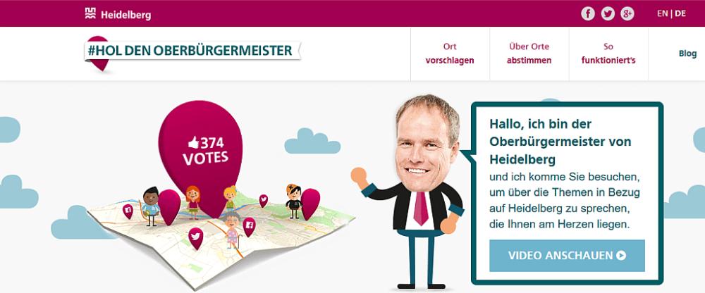 Bildschirmfoto der Startseite der Website Hol den Oberbürgermeister