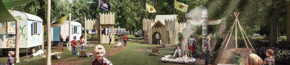 Planungsfoto der Kinderbaustelle. Spielende Kinder. Im Hintergrund Bauwägen und eine Art Holzschloss und Tippis